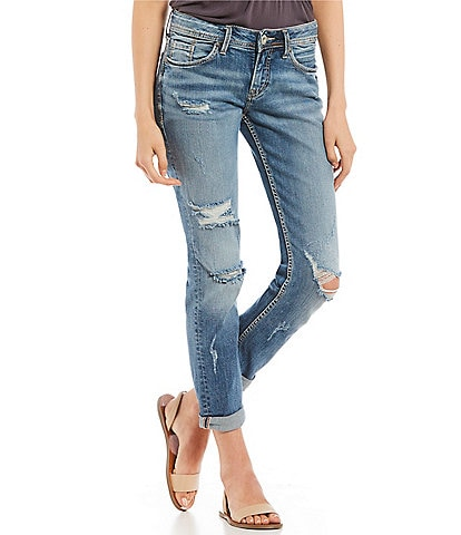 Silver Jeans Co. Suki Slim Ankle Destructed Jeans