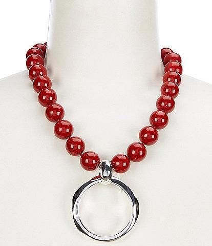 Simon Sebbag Red Shell Pendant Necklace