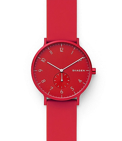 Skagen Aaren Kulor 41 MM Red Silicone Watch