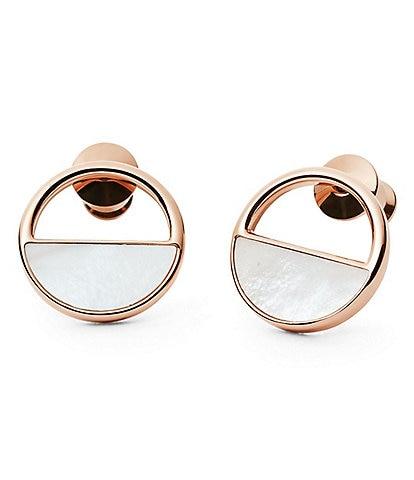 Skagen Agnethe Rose Gold & Mother of Pearl Stud Earrings