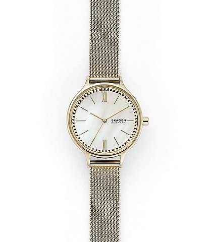 Skagen Anita Three-Hand Gold Tone Steel Mesh Watch
