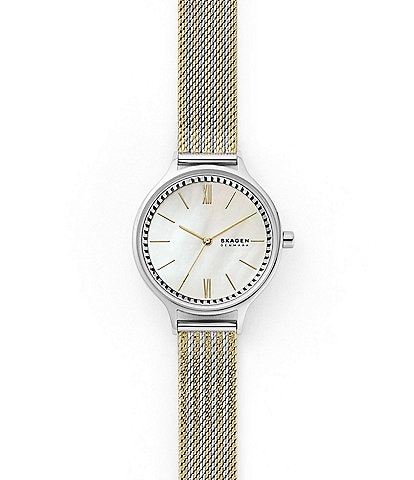 Skagen Anita Three-Hand Gold-Tone Steel-Mesh Watch