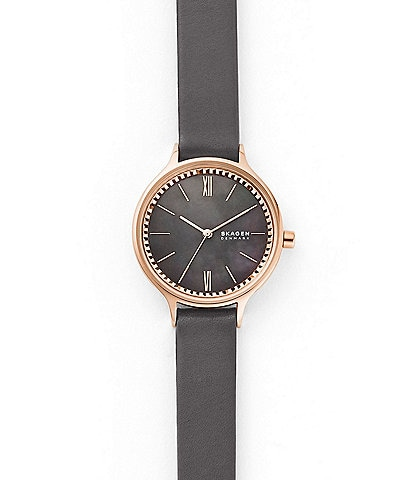 Skagen Anita Three-Hand Gray Leather Watch