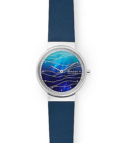 Skagen Annelie Two-Hand Blue Leather Watch