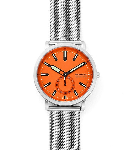 Skagen Colden Three-Hand Silver-Tone Steel-Mesh Watch