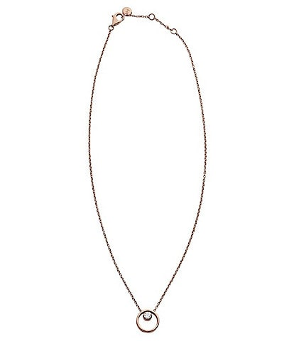 Skagen Elin Crystal Circle Pendant Necklace