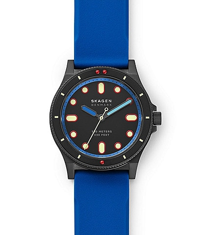 Skagen Fisk Three-Hand Blue Silicone Watch