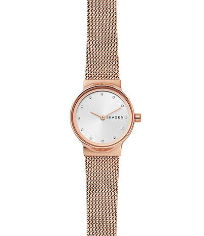 Skagen Freja Rose Gold Tone Steel-Mesh Watch
