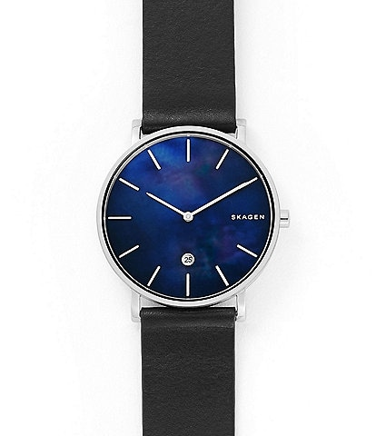 Skagen Hagen Slim Mother-of-Pearl Black Leather Watch