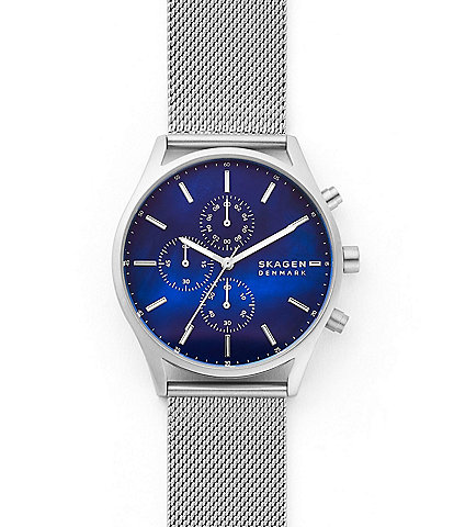 Skagen Holst Chronograph Silver-Tone Steel Mesh Watch