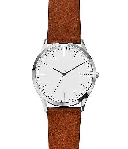 Skagen Jorn Analog Leather-Strap Watch