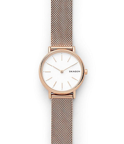 Skagen Signature Slim Rose Gold-Tone Steel-Mesh Watch