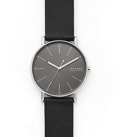 Skagen Signatur Three-Hand Black Leather Watch
