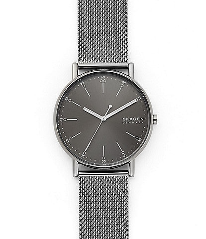Skagen Signatur Three-Hand Gray Steel-Mesh Watch