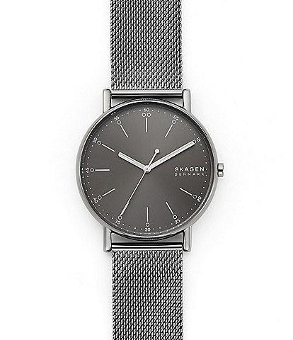 Skagen Signatur Three-Hand Gray Steel-Mesh Watch