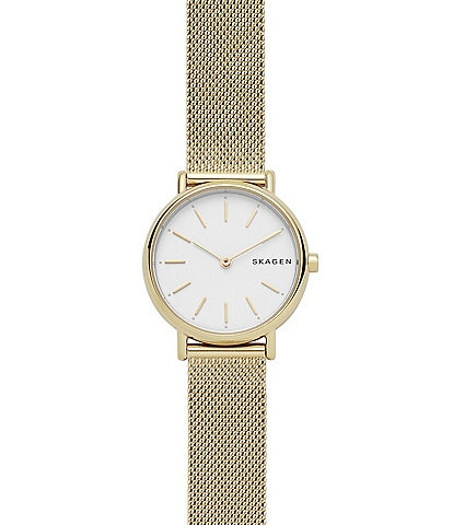 Skagen Signature Slim Gold Tone Mesh Watch