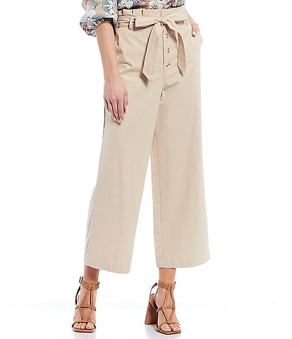 Skies Are Blue Button Front Paperbag Waist Cropped Pants