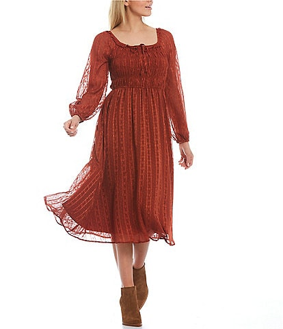 Skies Are Blue Clip Jacquard Woven Square Neck Smocked Top Long Sleeve Midi Dress