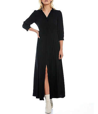 Skies Are Blue Collared Split V-Neck 3/4 Sleeve Button Front Maxi Dress
