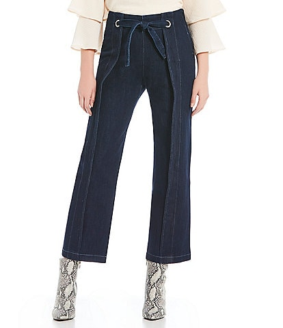 Skies Are Blue Cropped Denim Tie Waist Wide Leg Pants