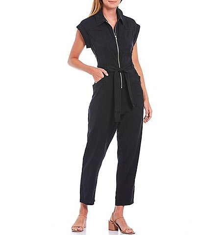 Skies Are Blue Cuff Sleeve Utility Zip Front Tie Waist Ankle Jumpsuit