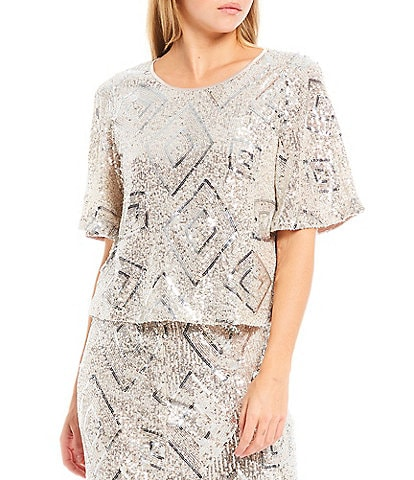 Skies Are Blue Diamond Sequined Elbow Sleeve Top
