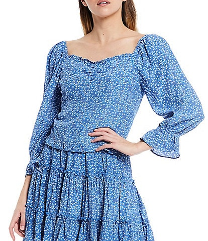 Skies Are Blue Ditsy Floral Print Sweetheart Neck Long Puff Sleeve Ruffle Hem Top