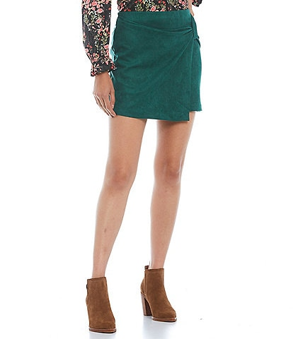 Skies Are Blue Faux Suede Side Knotted High Rise Mini Skirt