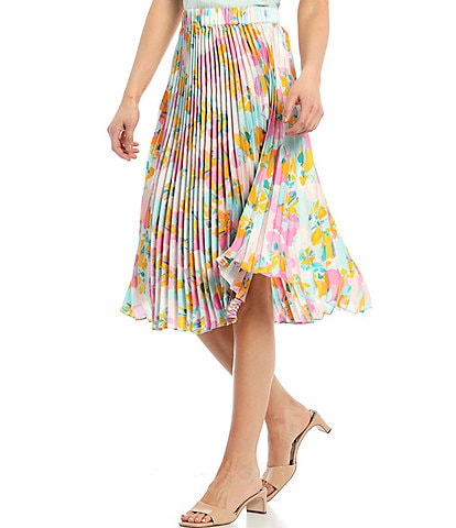 Skies Are Blue Floral Print A-Line Pleated Skirt