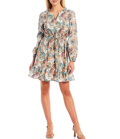 Skies Are Blue Floral Print Long Sleeve Fit & Flare Dress