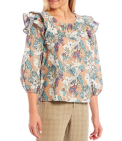 Skies Are Blue Floral Print Ruffle Long Sleeve Top