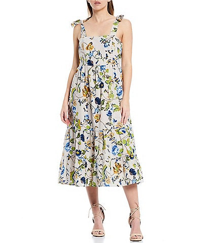Skies Are Blue Floral Print Square Neck Tie-Shoulder Sleeveless Midi Tiered Dress