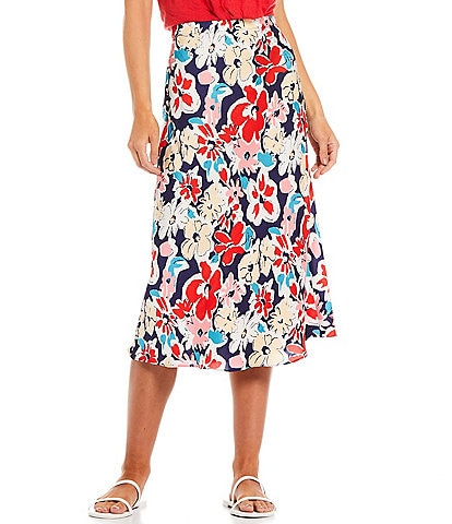 Skies Are Blue Floral Print Woven Midi Skirt