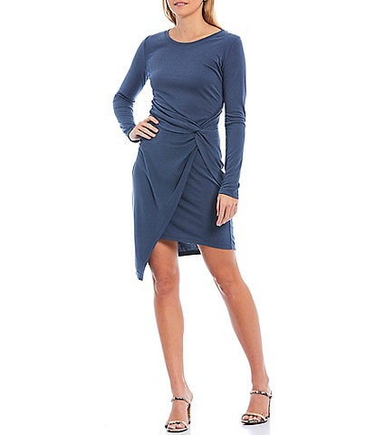 Skies Are Blue Knit Jersey Knot Front Long Sleeve Dress