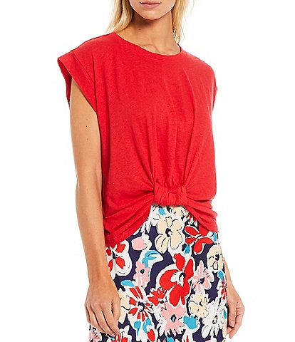 Skies Are Blue Knotted Front Cuffed Cap Sleeve Jewel Neck Top
