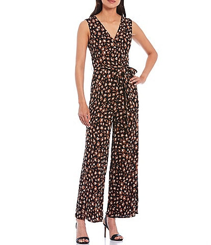 Skies Are Blue Leopard Print Surplice V-Neck Self Tie Belt Sleeveless Jumpsuit