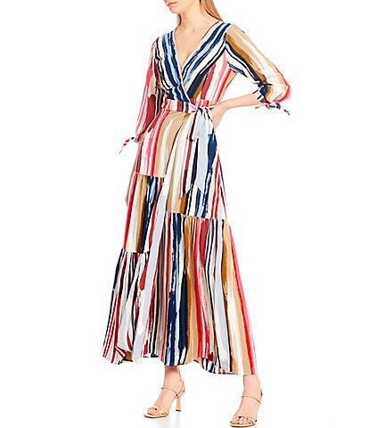 Skies Are Blue Paintbrush Wrap 3/4 Sleeve Maxi Dress