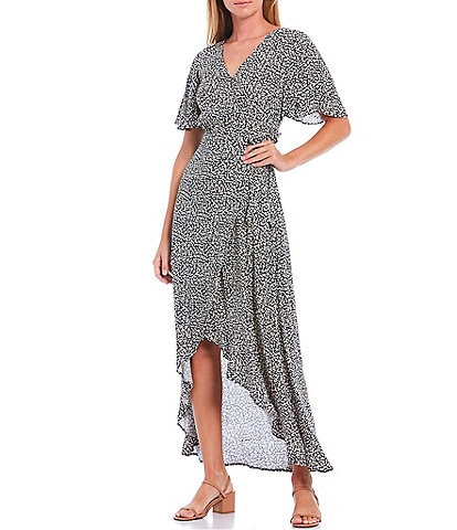 Skies Are Blue Pebble Print Flutter Sleeve Hi-Low Wrap Dress