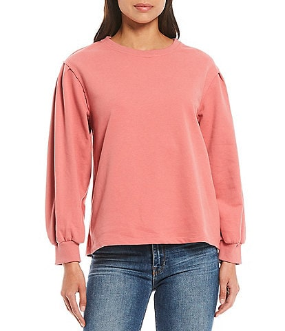 Skies Are Blue Puff Sleeve Knit Pullover Top
