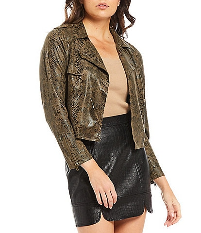 Skies Are Blue Python Print Faux Suede Open Front Lapel Collar Moto Jacket