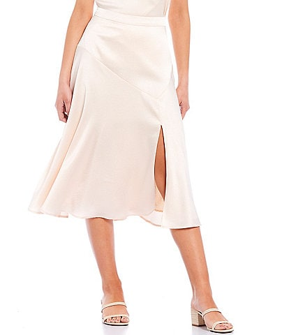 Skies Are Blue Satin Bias Cut Front Slit Midi Skirt