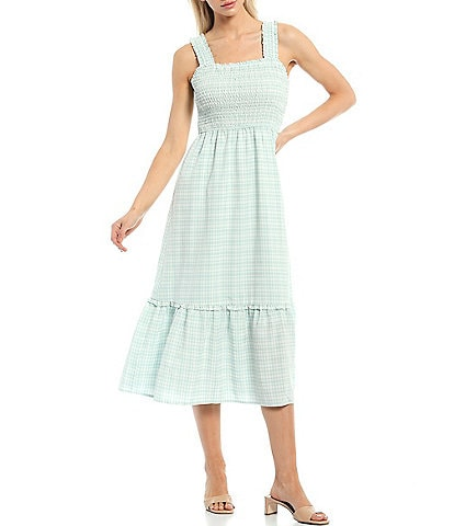 Skies Are Blue Smock Top Gingham Square Neck Sleeveless Tiered Midi Dress