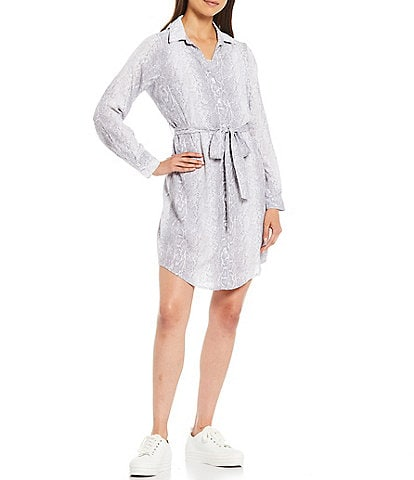 Skies Are Blue Snake Print Button front Shirt Dress