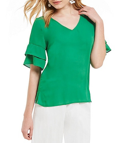 Skies Are Blue Solid Ruffle Sleeve Blouse