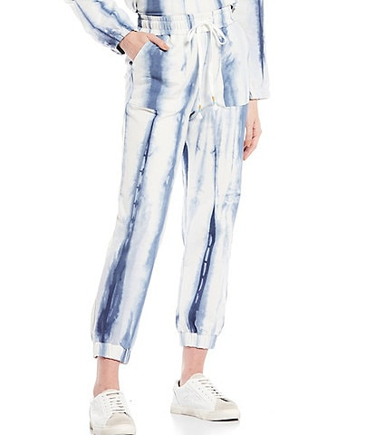 Skies Are Blue Tie Dye Drawstring Ankle Length Joggers