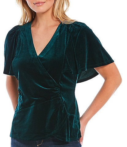 Skies Are Blue Velvet Flutter Sleeve Faux Wrap Top