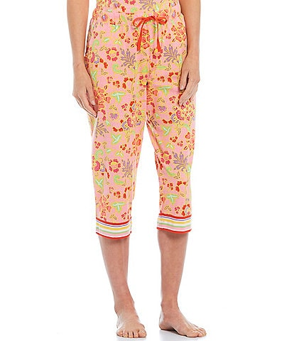 Sleep Sense Batik Floral Knit Capri Sleep Pants