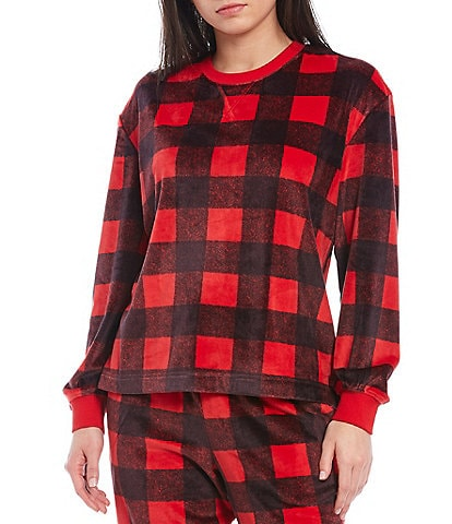 Sleep Sense Buffalo Checked Print Velour Sleep Top