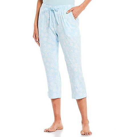 Sleep Sense Dandelion Wish Print Jersey Knit Capri Sleep Pants