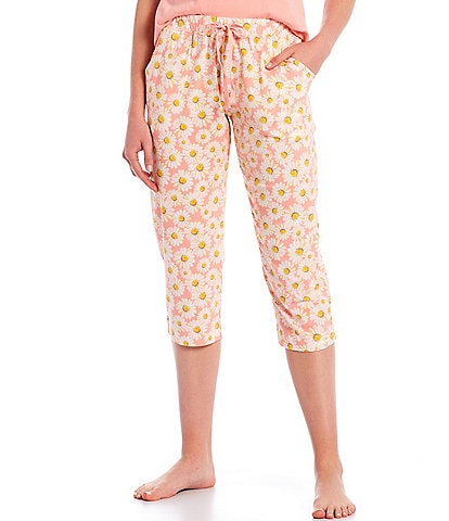 Sleep Sense Dreamy Daisy Print Knit Capri Drawstring Sleep Pants